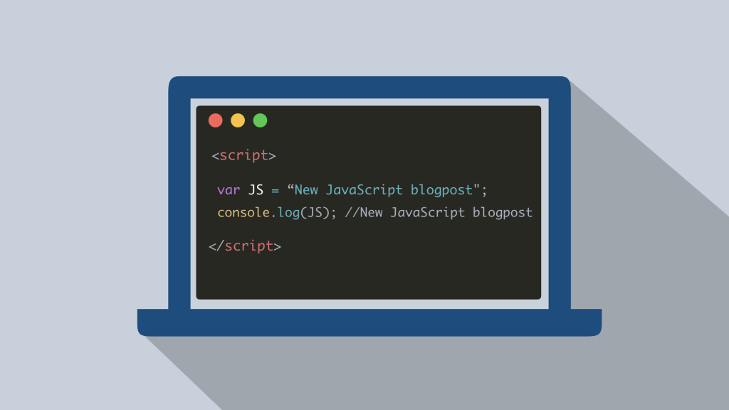 Javascript blog header with coding example