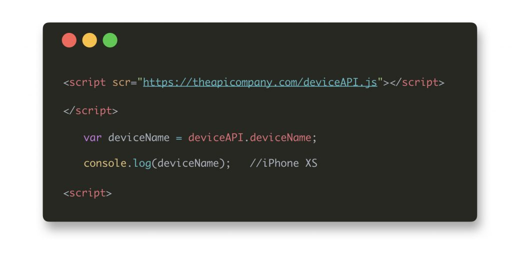 JavaScript snippet with code to detect the device name